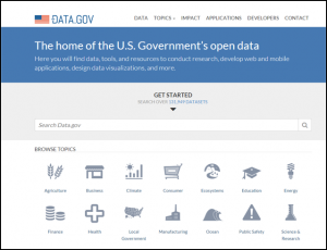 Home page of the U.S. government's Opendata